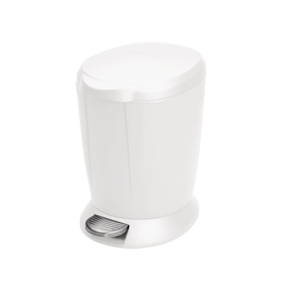 Simplehuman 6 Liter White Plastic Round Step On Trash Can Cw1318