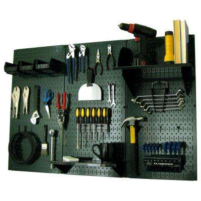 32 in. x 48 in. Metal Pegboard Standard Tool Storage Kit with Green Pegboard and Black Peg Accessories