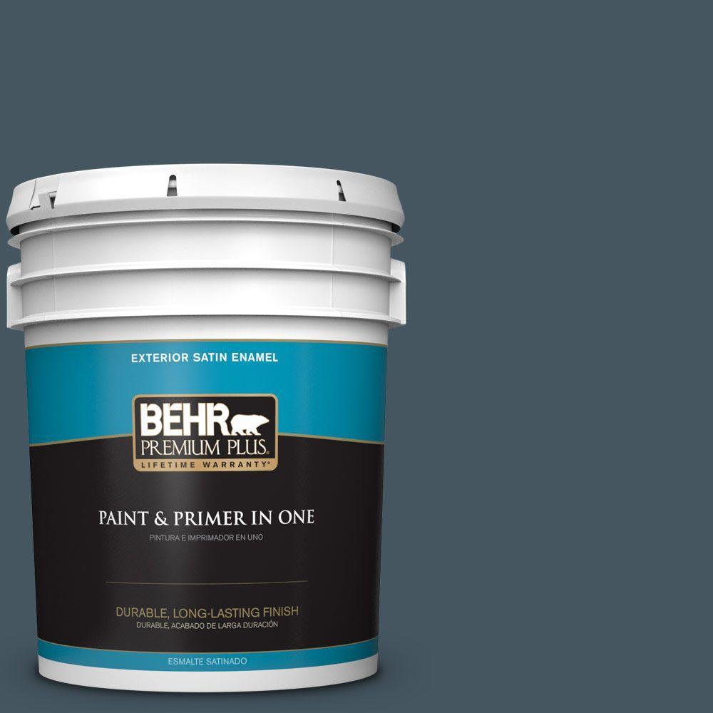 BEHR Premium Plus 5-gal. #ECC-35-3 Thunder Bay Satin Enamel Exterior Paint