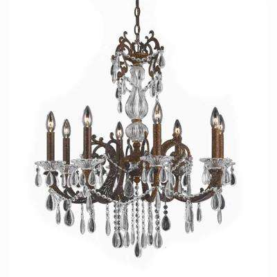 8-Light Bronze Chandelier with Crystal Tear Drop Glass Shade