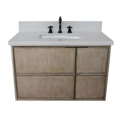 Scandi 37 in. W x 22 in. D Wall Mount Bath Vanity in Brown with Quartz Vanity Top in White with White Rectangle Basin