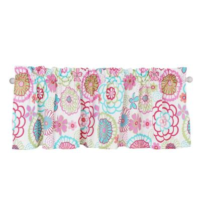Flower Power Floral Colorful Bloom Multi-Color Pink Blue Green Orange Poly Cotton Window Valance (1-Piece)