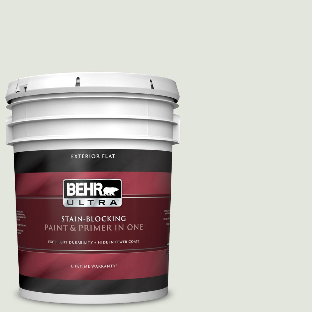 Behr Ultra 5 Gal Bl W06 Whispering Waterfall Flat Exterior Paint And Primer In One 485005 The Home Depot