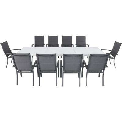 Palermo 11-Piece Aluminum Outdoor Dining Set with 10-Padded Sling Chairs in Gray and a 40 in. x 118 in. Expandable Table