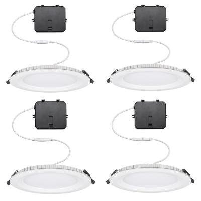 Ultra Slim 6 in. Canless Color Changing Integrated LED Recessed Trim All-in-One Downlight 900 Lumens Dimmable (4-Pack)