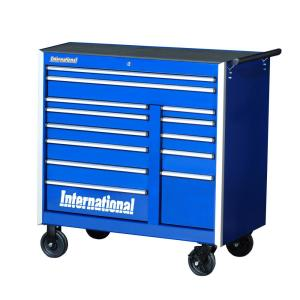 International Pro Series 42 inch 13-Drawer Roller Cabinet Tool Chest in Blue by International