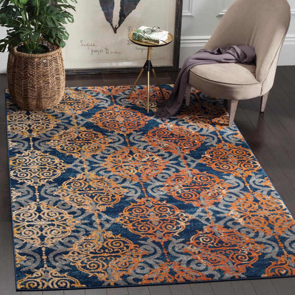 safavieh evoke blue orange 5 ft 1 in x 7 ft 6 in area rug evk230s 5 the home depot. Black Bedroom Furniture Sets. Home Design Ideas