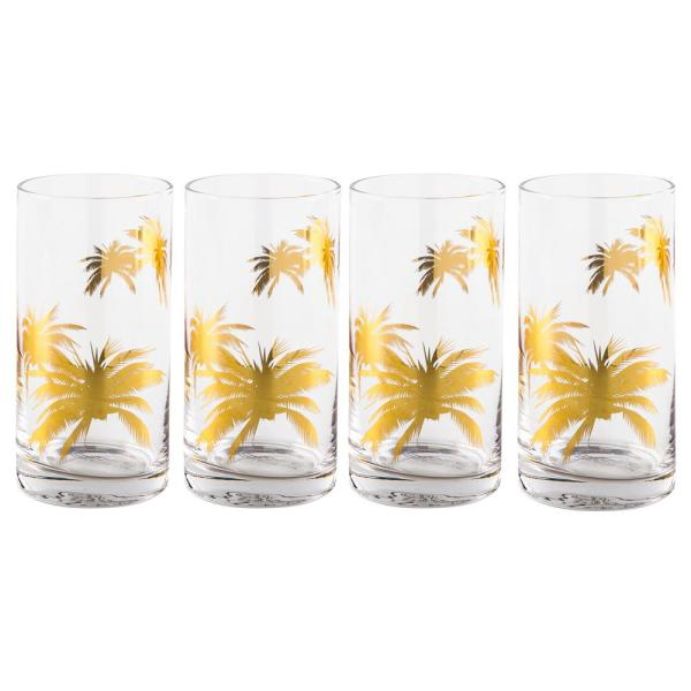 CELLINI Gold Palm Trees 18 oz. Highball Glasses (Set of 4)