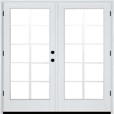 72 in. x 80 in. Fiberglass Smooth White Left-Hand Outswing Hinged Patio Door 10-Lite GBG