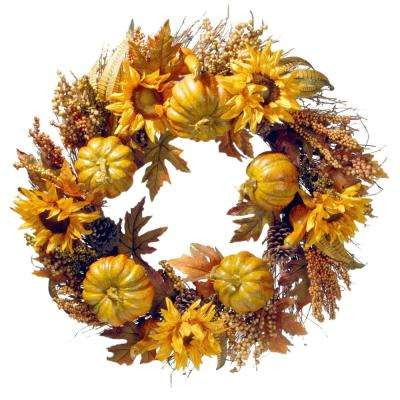 30 in. Wreath with Pumpkins and Sunflowers