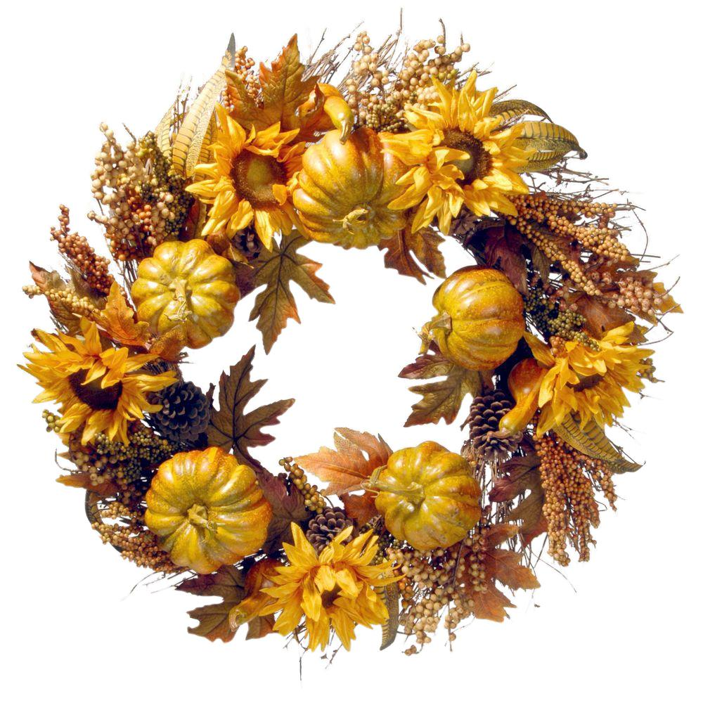 National Tree Company 30 In Wreath With Pumpkins And Sunflowers