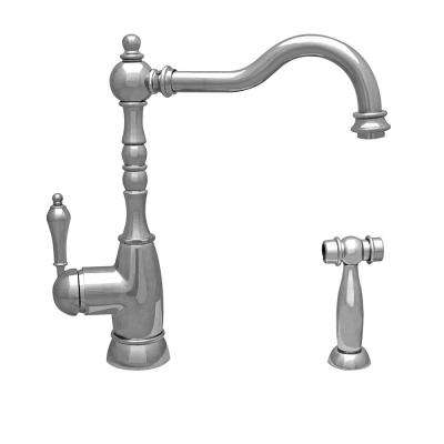 Englishhaus Single-Handle Standard Kitchen Faucet with Side Spray in Polished Nickel
