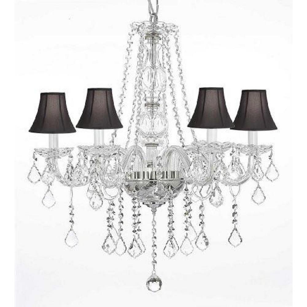 Harrison Lane Empress 5-Light Clear Crystal Chandelier with Black Shades