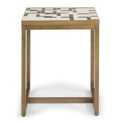 Geometric II Cream and Gold Mosaic Tile End Table