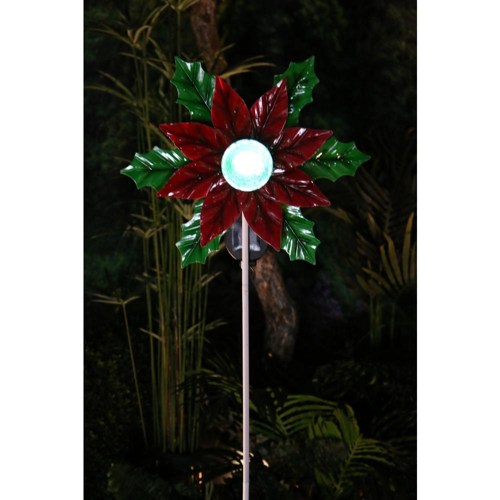 Beau Alpine Solar Rotating Poinsettia With LED Glass Ball Garden Stake
