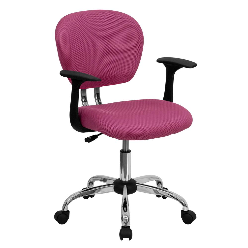 Superieur Flash Furniture Mid Back Pink Mesh Swivel Task Chair With Chrome Base And  Arms