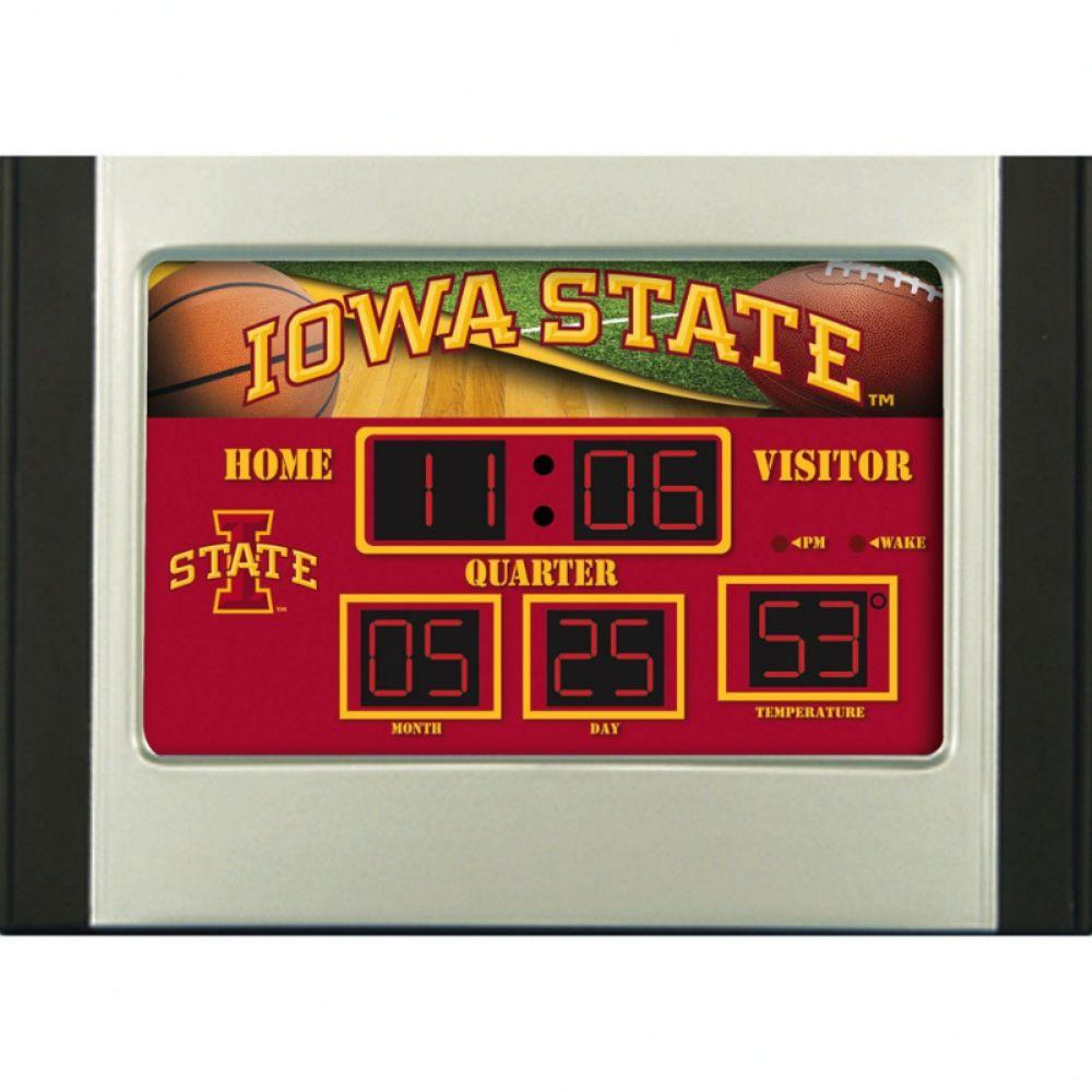 null Iowa State University 6.5 in. x 9 in. Scoreboard Alarm Clock with Temperature