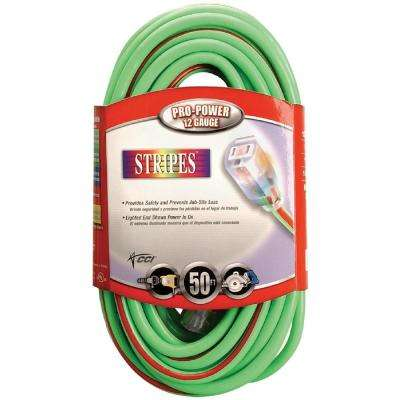 100 ft. 10/3 SJTW Hi-Visibility Multi-Color Outdoor Heavy-Duty Extension Cord with Power Light Plug