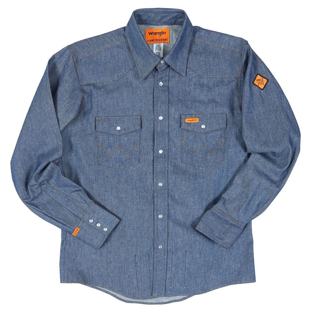 Men's Medium Denim Flame Resistant Basic Work Shirt