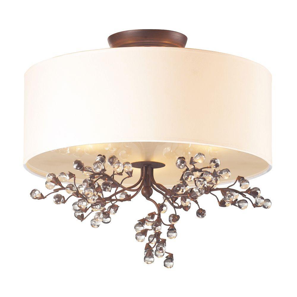 Winterberry 3-Light Antique Darkwood Ceiling Semi-Flush Mount Light