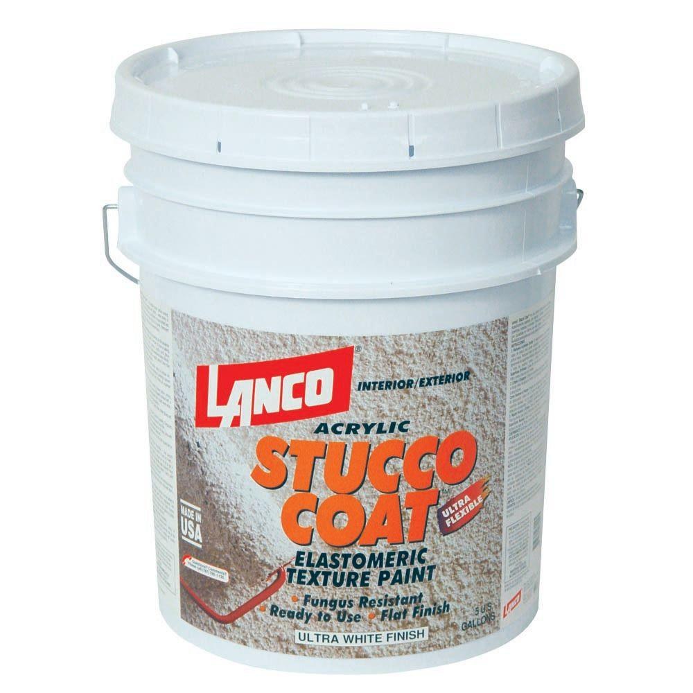 Lanco Stucco Coat 5 Gal Flat Acrylic Ultra White Interior Exterior Paint St700 2 The Home Depot