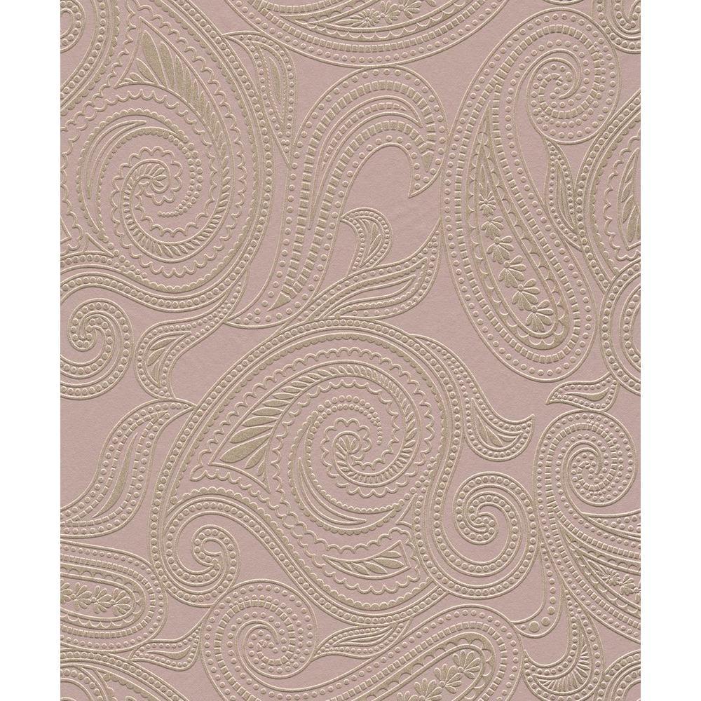 Brown Paisley Print Wallpaper