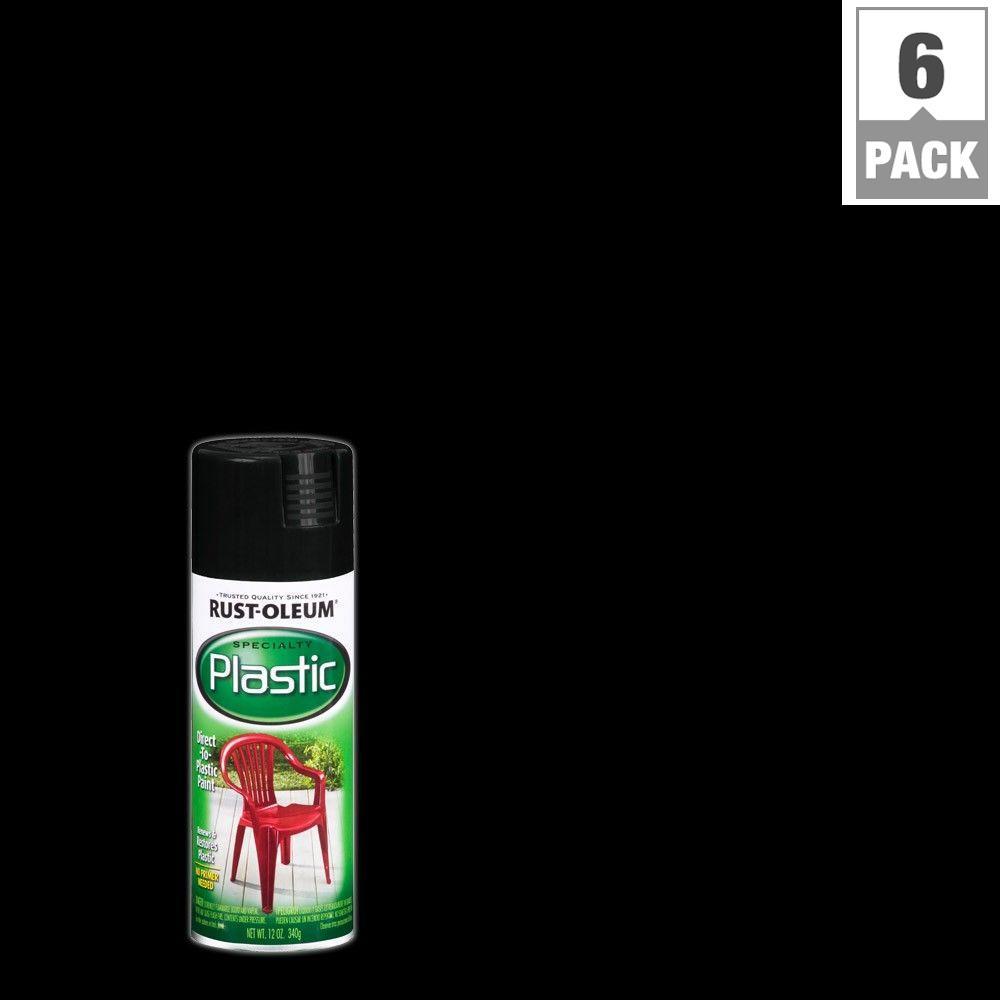 12 oz. Black Paint for Plastic Spray Paint (6-Pack)