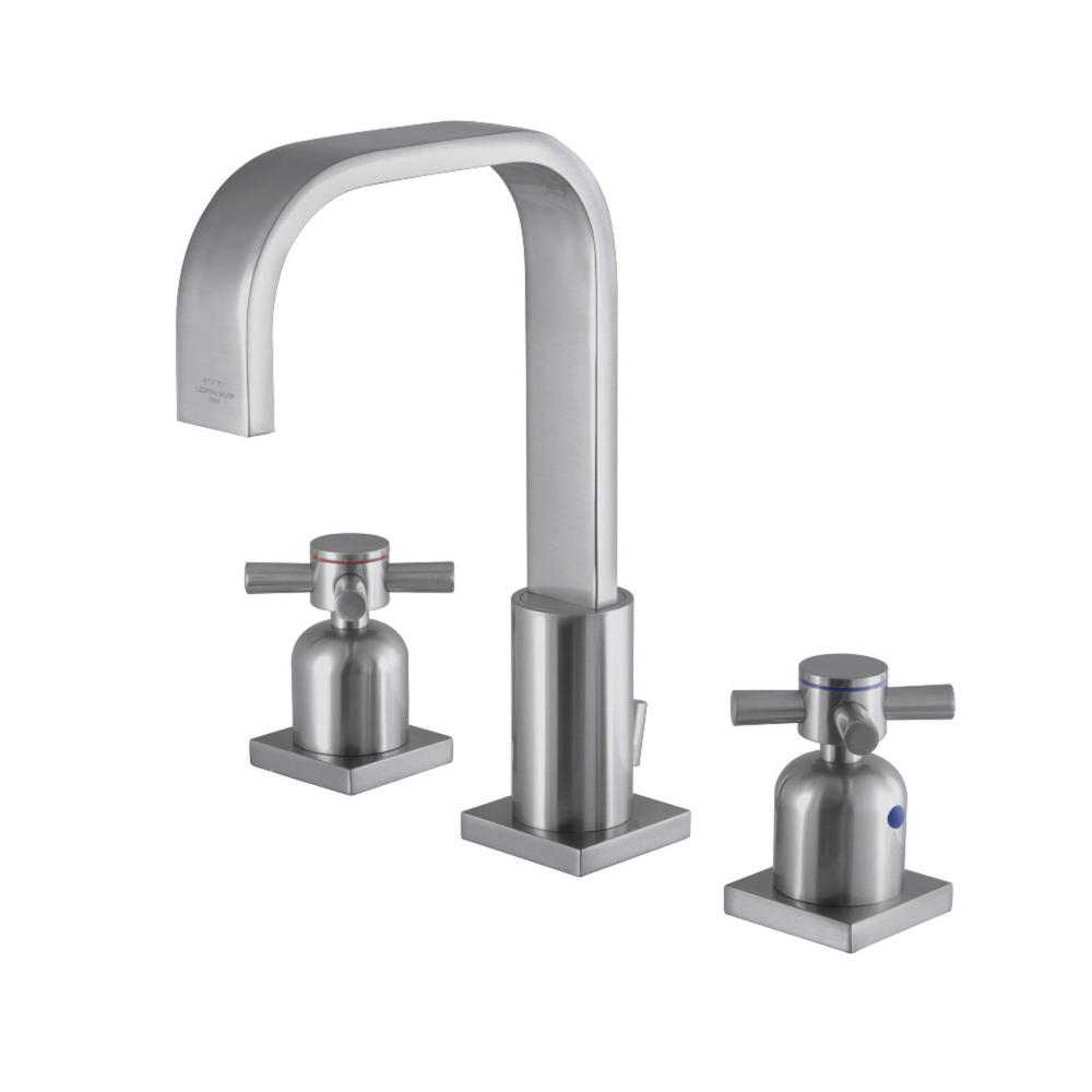 Modern 8 in. Widespread 2-Handle High-Arc Bathroom Faucet in Brushed Nickel
