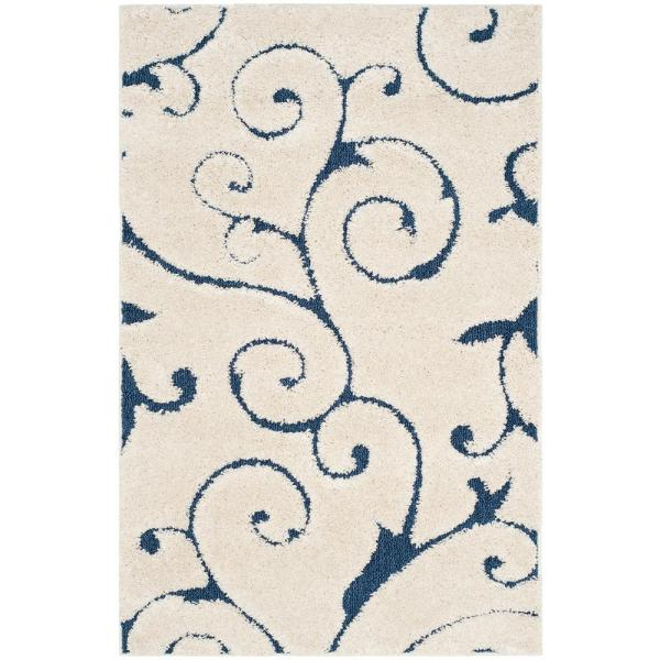 Florida Shag Cream/Blue 3 ft. x 5 ft. Area Rug