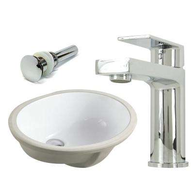 19-1/2 in. Oval Undermount Vitreous Glazed Ceramic Sink with Polished Chrome Bathroom Faucet / Pop-up Drain Combo