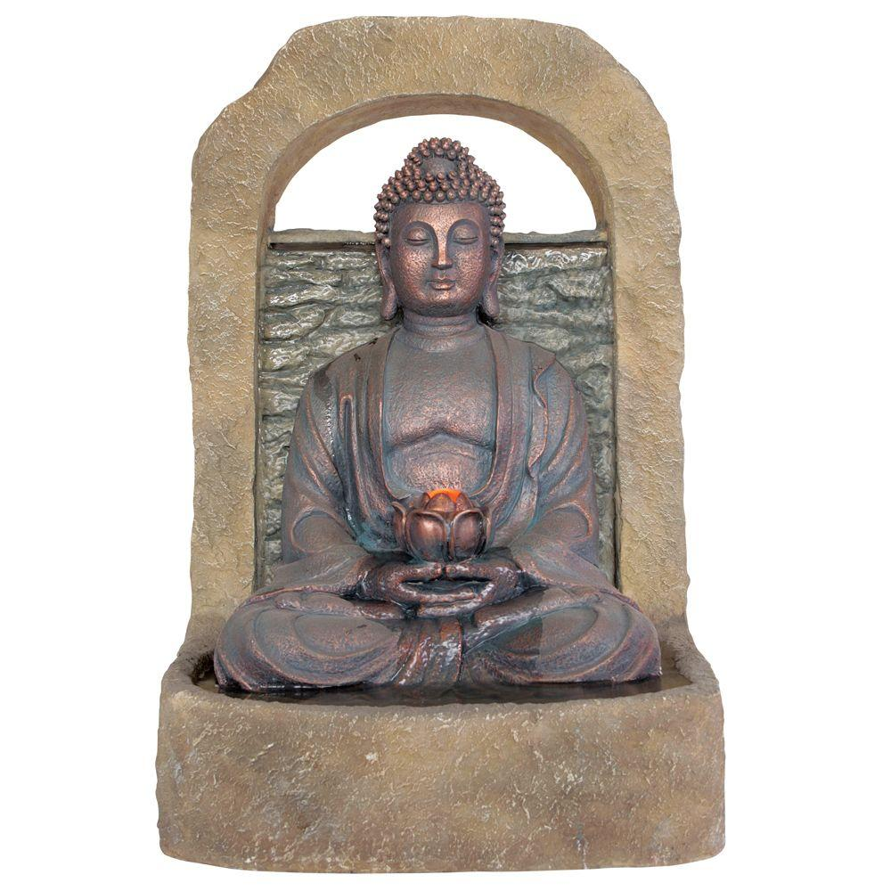 Kelkay 19 in. W x 17 in. D x 27 in. H Buddha with Lotus Flower Fountain with LED Lights-DISCONTINUED