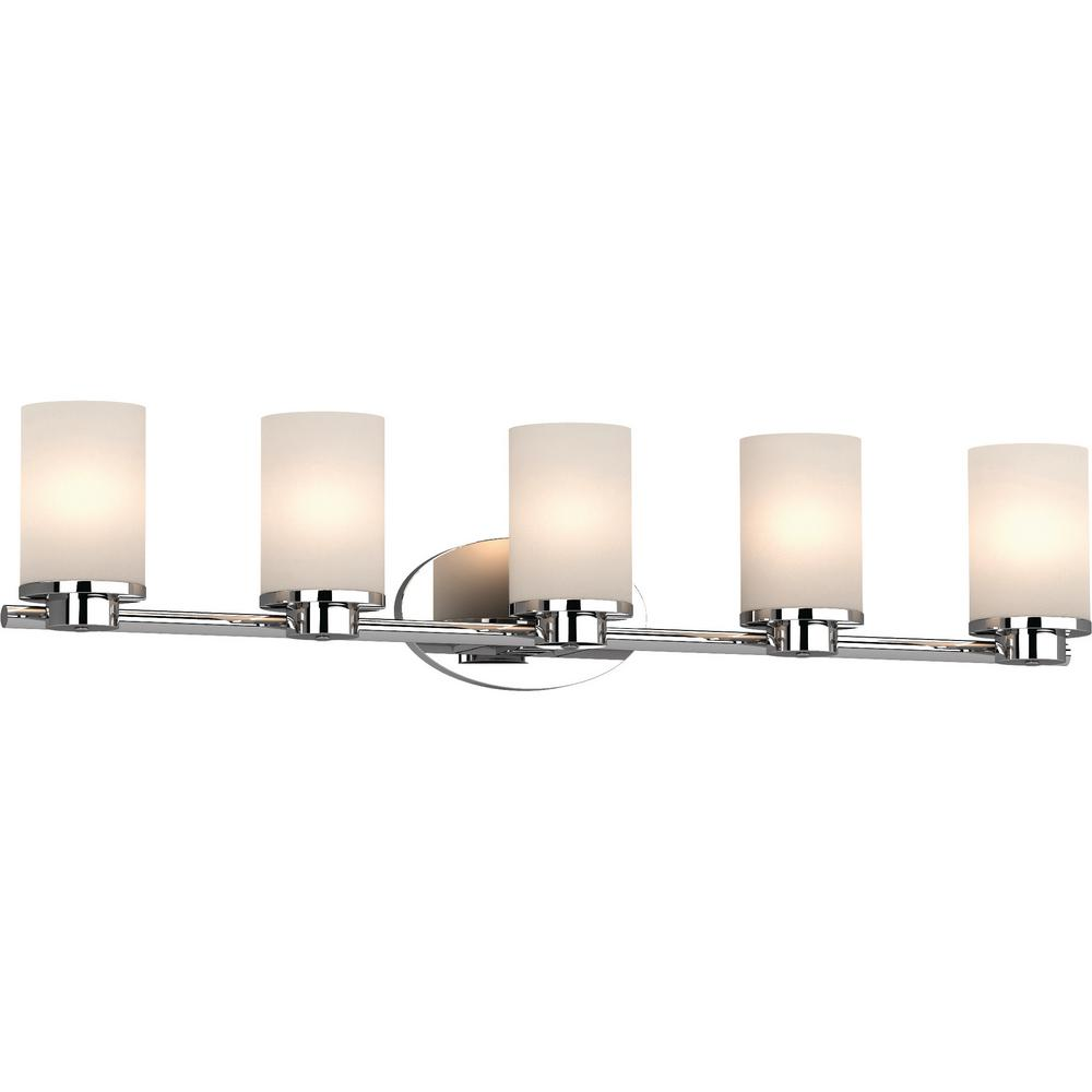 Volume Lighting Sharyn 5-Light 8.25 in. Chrome Indoor Bathroom Vanity Wall Sconce or Wall Mount with Frosted Glass Cylinder Shades