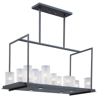 Urban Nights 12.2 in. Wide 20-Light Textured Black Chandelier with Frosted Shade