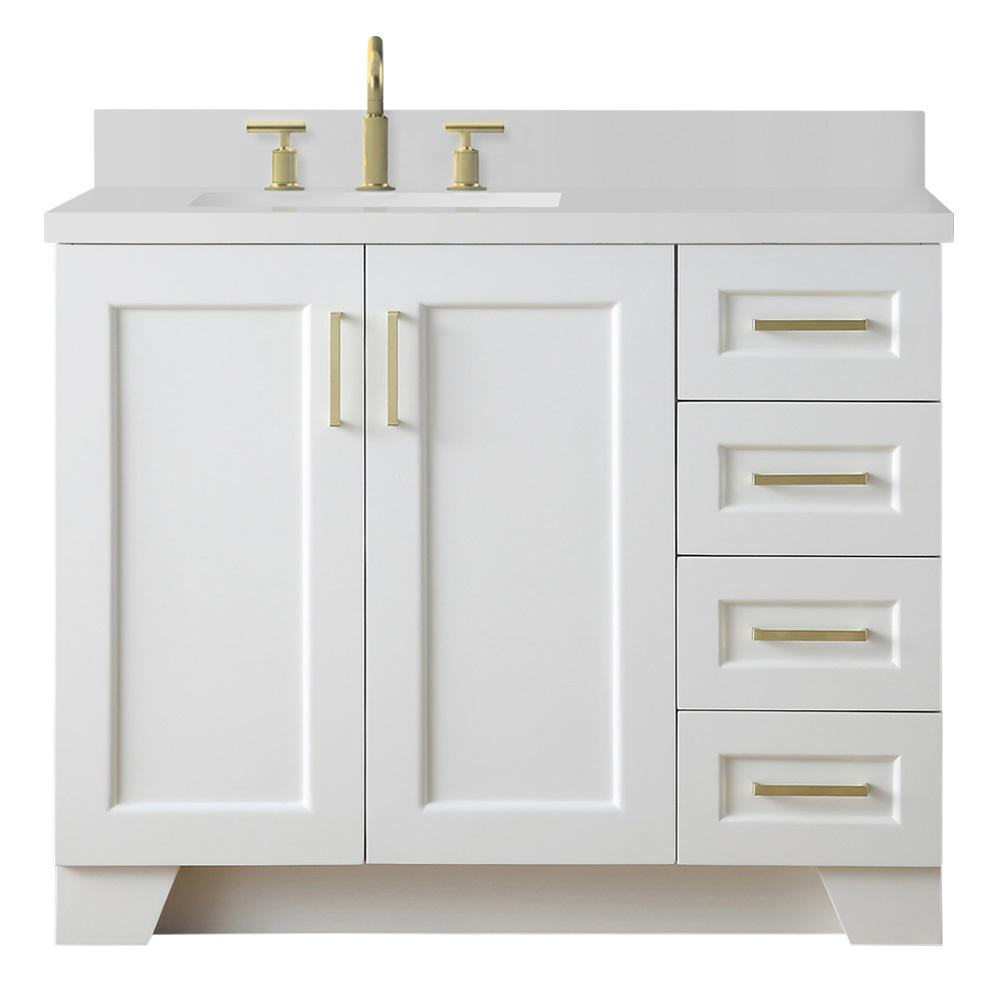 Ariel Taylor 43 in. W x 22 in. D Bath Vanity in White with Quartz Vanity Top in White with Left Offset White Rectangle Basin