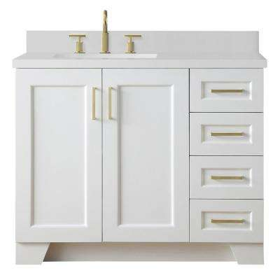 Taylor 43 in. W x 22 in. D Bath Vanity in White with Quartz Vanity Top in White with Left Offset White Rectangle Basin