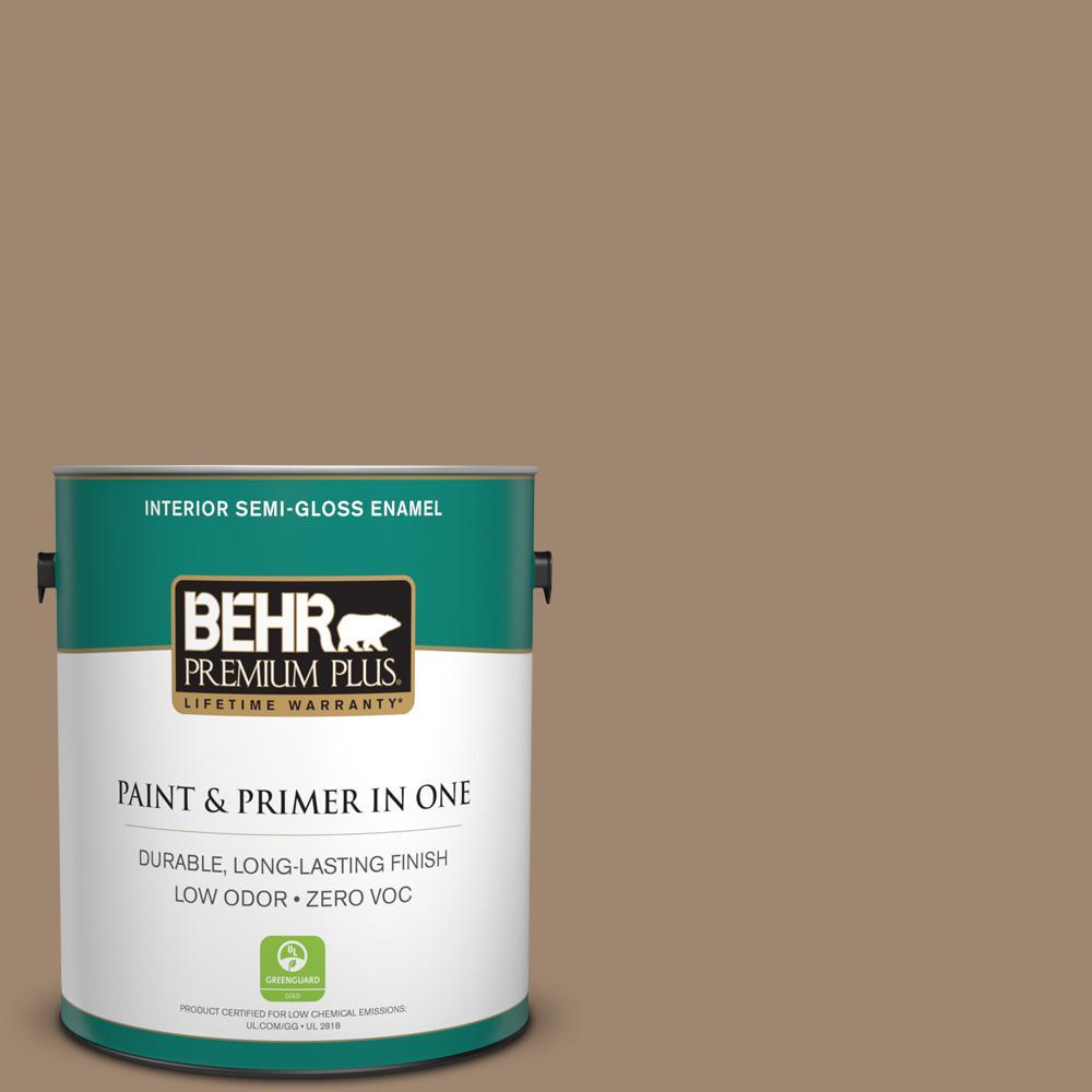 1-gal. #700D-5 Toffee Crunch Zero VOC Semi-Gloss Enamel Interior Paint