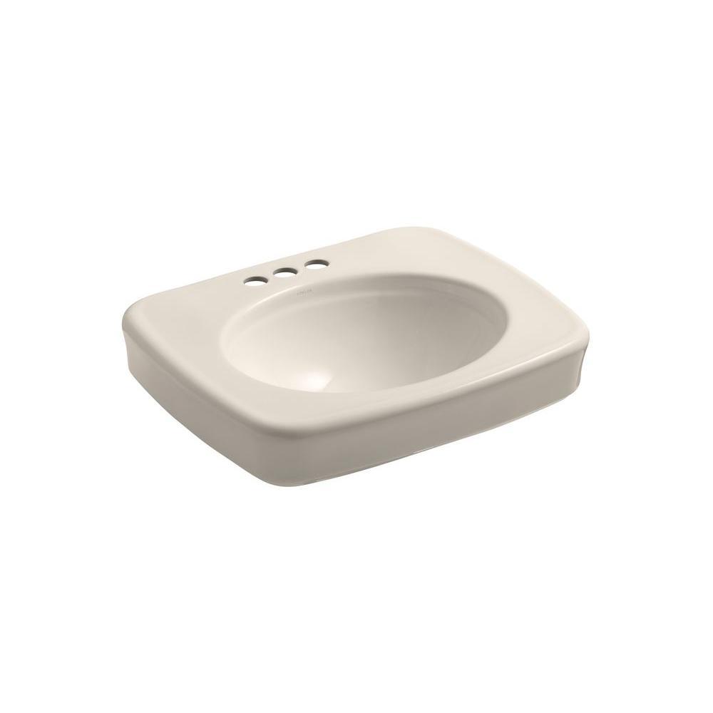 KOHLER Bancroft Pedestal Bathroom Sink in Innocent Blush-DISCONTINUED