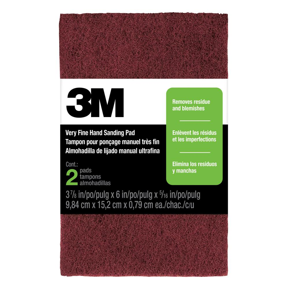 3M 3-7/8 in. x 6 in. x 5/16 in. (9.84 cm x 15.2 cm x 0.79 cm) Very Fine Hand Sanding Pads (2-Pack)