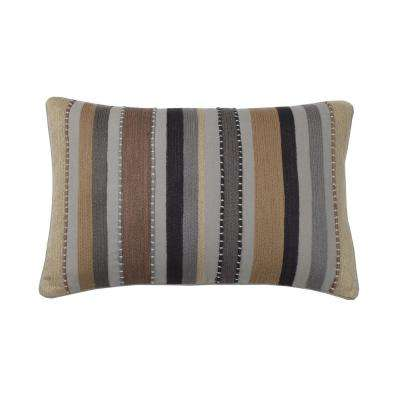 Embroidered Decorative Pillow Cover in Neutral Stripe, 16 in. x 24 in.