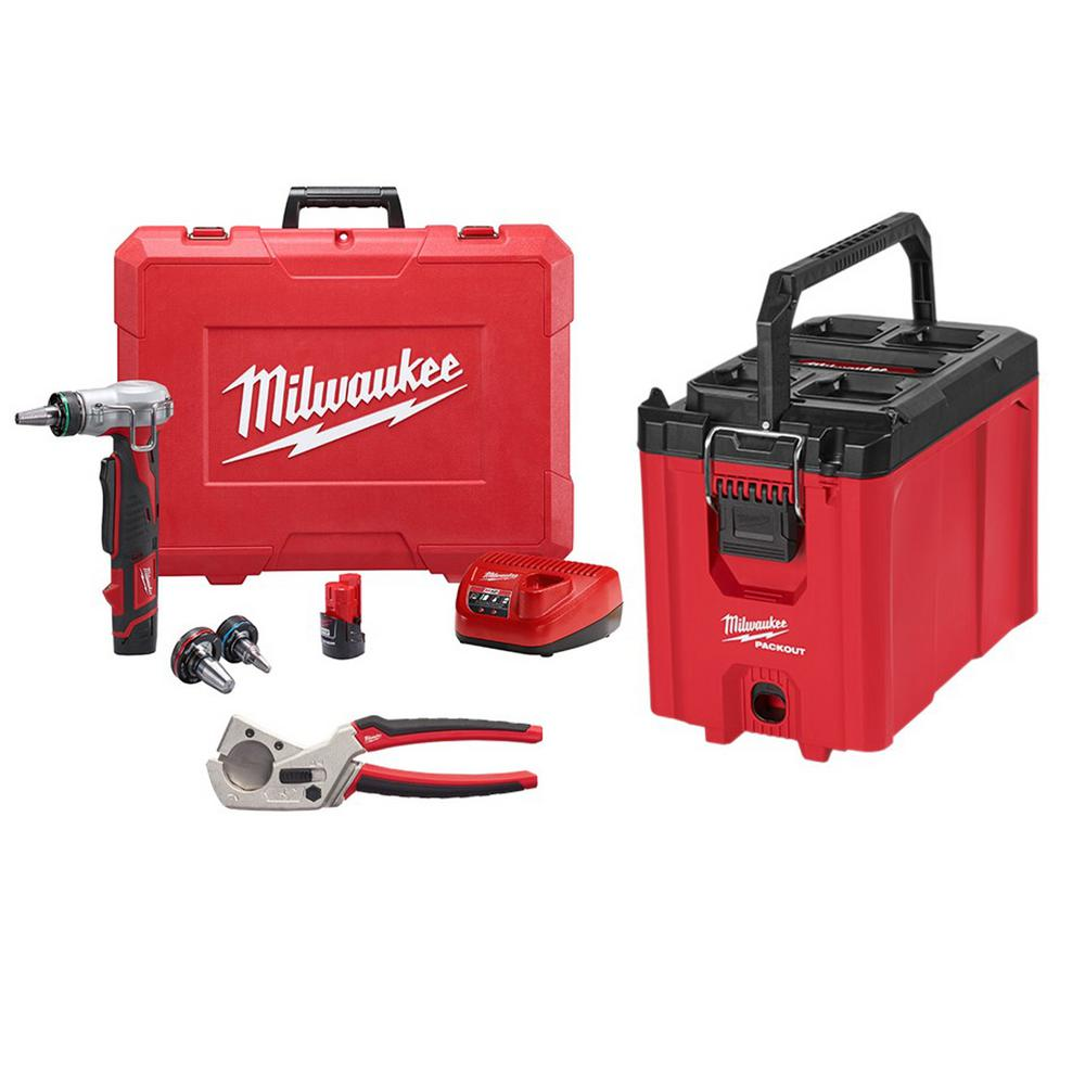 Milwaukee M12 12-Volt Lithium-Ion Cordless ProPEX Expansion Tool Kit W/(2) 1.5Ah Batteries, (3) Expansion Heads & Packout Tool Box