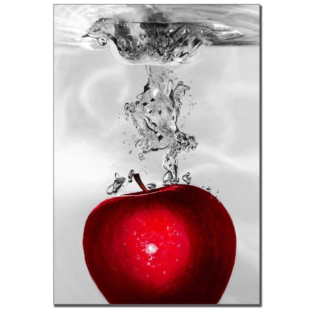 22 in. x 32 in. Red Apple Splash II by Roderick Stevens Canvas Art