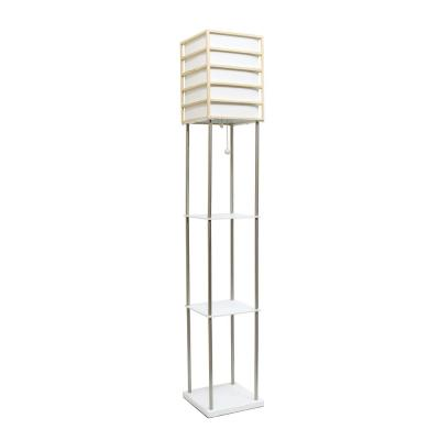 60 in. 1-Light Light Wood Metal Etagere Floor Lamp with Storage Shelves and Linen Shade
