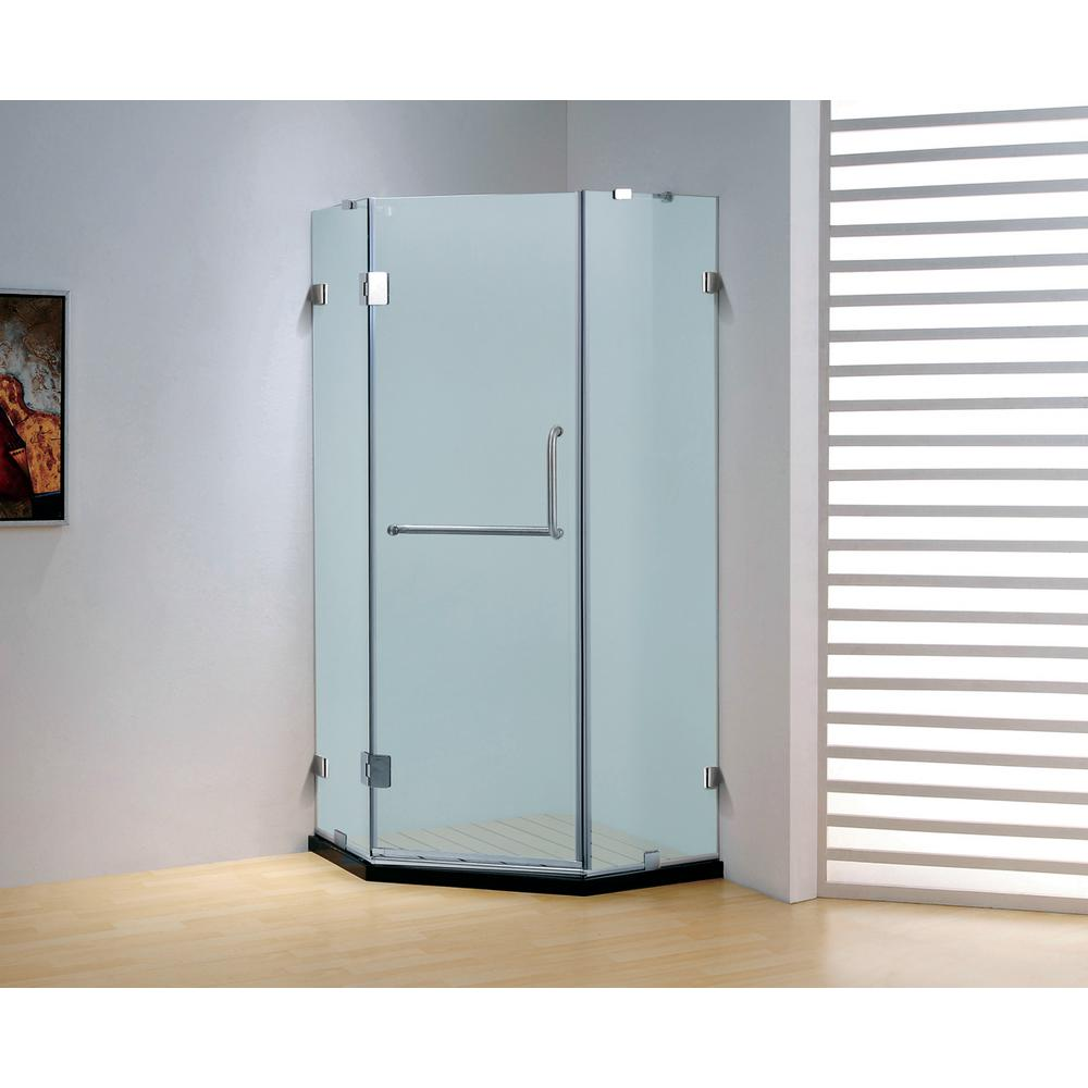 39.4 in. x 79 in. Frameless Neo-Angle Hinged Shower Door in