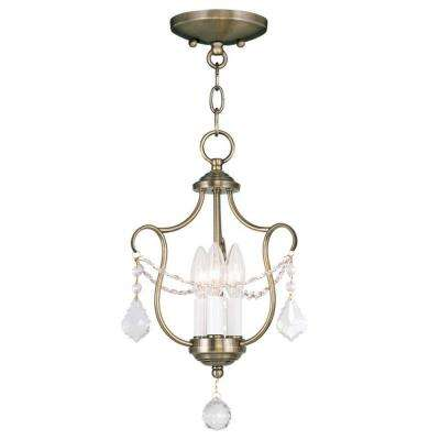 Providence 3-Light Antique Brass Incandescent Ceiling Semi-Flush Mount Light Convertible Pendant
