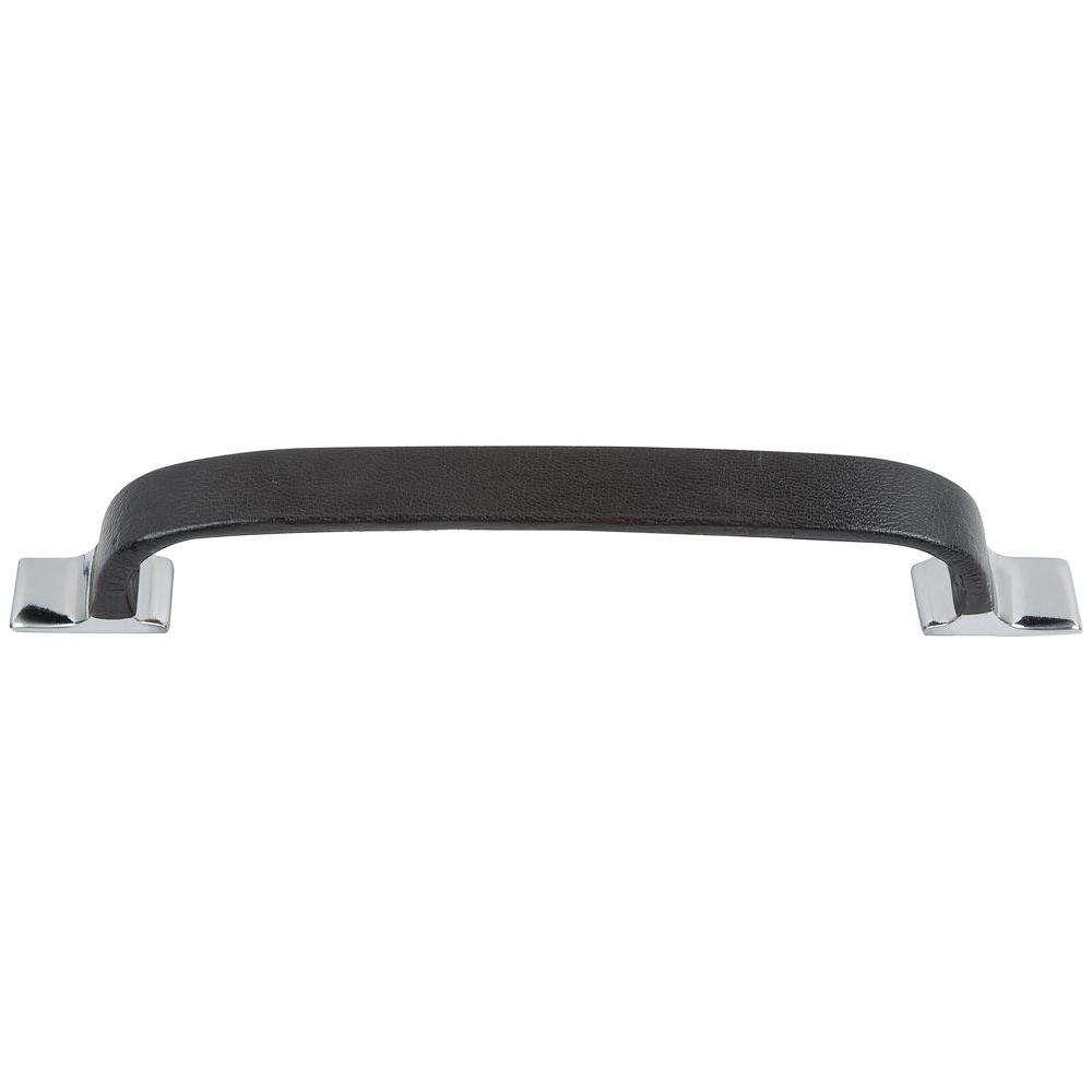 Atlas Homewares 8 in. Hamptons Collection Polished Chrome Large Espresso Leather Pull