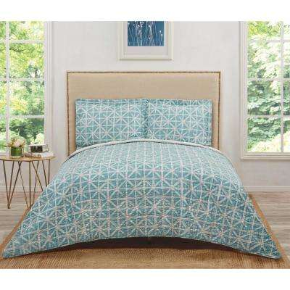 Celine Turquoises/Aqua Teal Geometric King Quilt Set