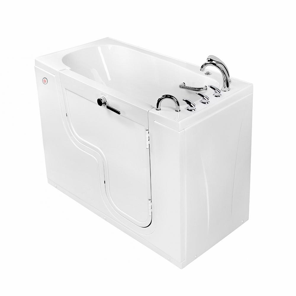 Wheelchair Transfer 60 in. Acrylic Walk-In MicroBubble Air Bath Bathtub in White, Faucet Set, Heated Seat, RH Dual Drain
