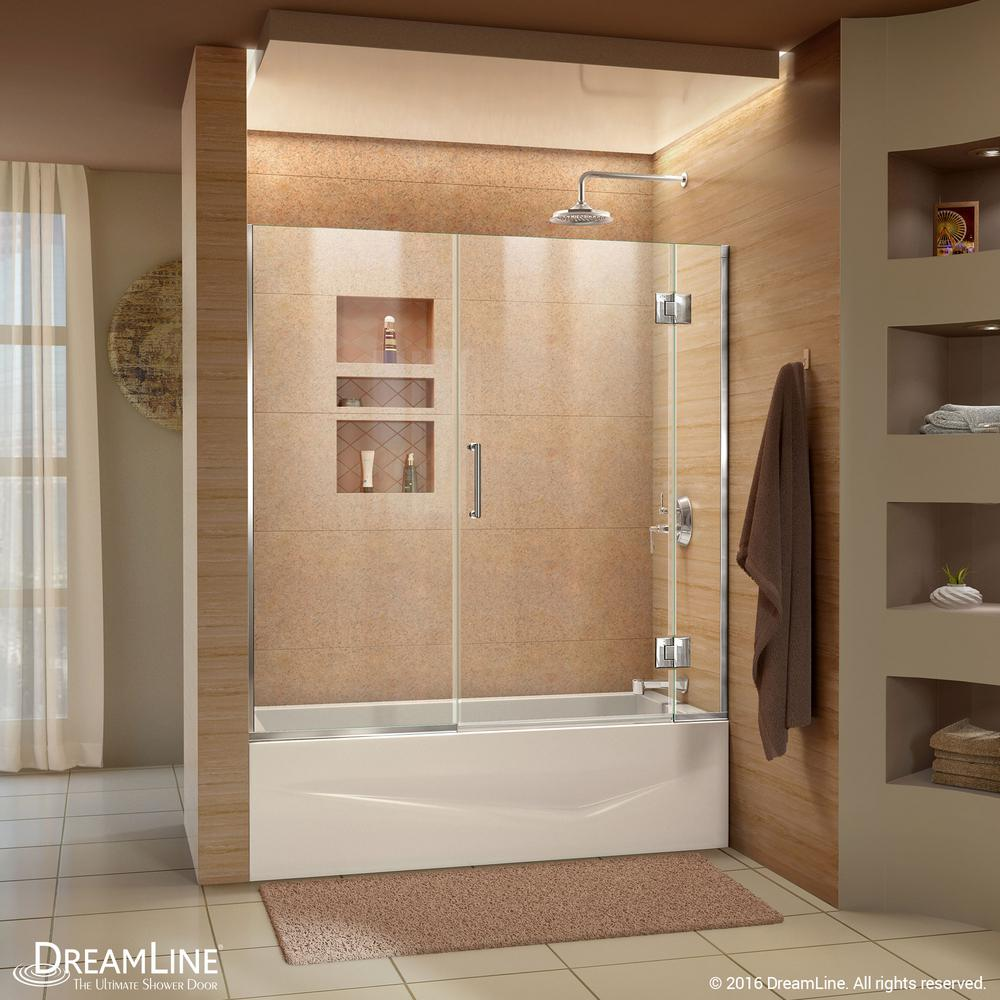 Dreamline Unidoor X 58 5 In Frameless Hinged Tub Door Chrome