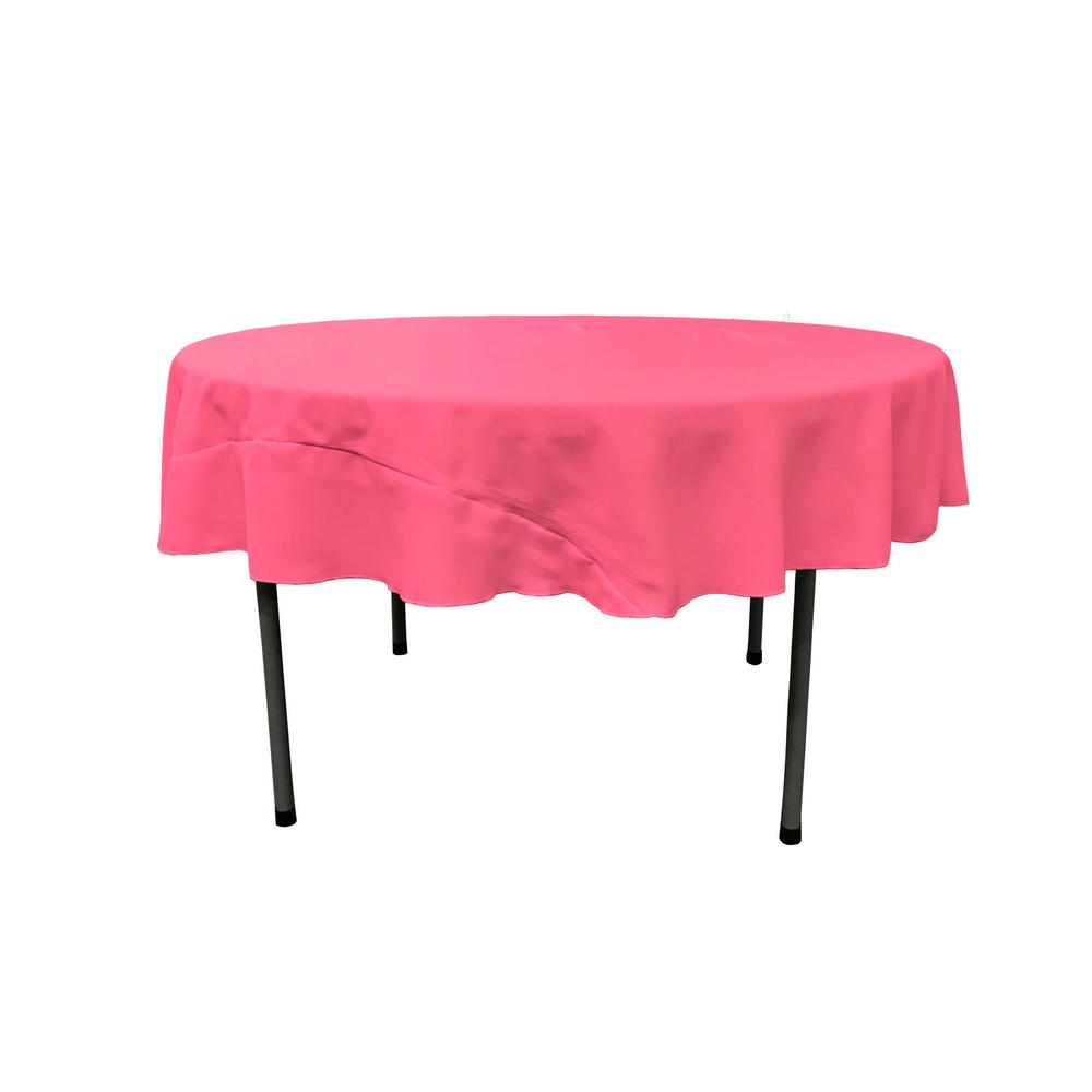 Charmant LA Linen 72 In. Round Hot Pink Polyester Poplin Tablecloth