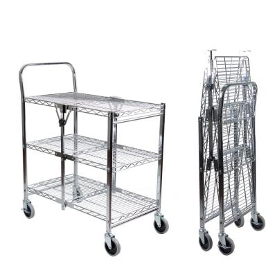 Commercial Grade 3-Tier Rolling Folding Utility Cart Wire (3T)